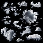 picture of cloud formation  - Set of multiple clouds and cloud formations isolated against the black background - JPG