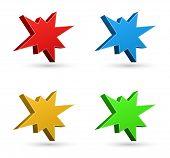 stock photo of starburst  - splash starburst icon 3d set - JPG