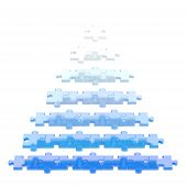 picture of pyramid  - Pyramid made of white and blue puzzle pieces isolated over white background - JPG