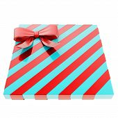 picture of gift wrapped  - Wrapped blue gift box with a red bow and ribbon isolated over white background - JPG