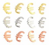 pic of foreshortening  - Euro currency sign isolated over white background - JPG