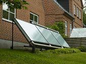 stock photo of environmentally friendly  - Modern design small solar panel for green environmentally friendly energy - JPG