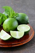 image of mint-green  - Fresh natural organic green lime with mint leaves - JPG