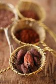 picture of cocoa beans  - cocoa beans in old rustic style silver sieves on old wooden background - JPG