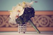 foto of arum lily  - Capture of Elegant lily bouquet on table - JPG