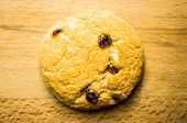 stock photo of baked raisin cookies  - Shortbread cookies with raisins one thing on the table - JPG