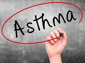 image of asthma  - Man Hand writing Asthma with black marker on visual screen - JPG