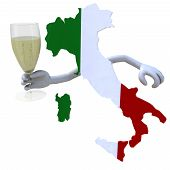 stock photo of sparkling wine  - map of Italy cheers with a glass of sparkling wine - JPG
