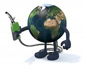 stock photo of fuel economy  - planet earth with arms legs and fuel pump on hand 3d illustration - JPG