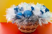 image of gift basket  - gift for the decor in a wicker basket - JPG