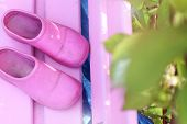 foto of pink shoes  - The composition of pink shoes standing on a pink bench in the sunny garden - JPG