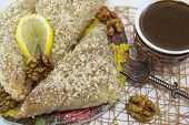 picture of baklava  - Greek baklava and Turkish coffee served on a table - JPG