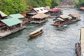 image of raft  - Tourism on the floating house rafting  at the river Kwai - JPG