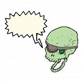 picture of spooky  - cartoon spooky skull with eye patch with speech bubble - JPG
