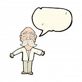 image of disappointment  - cartoon disappointed old man with speech bubble - JPG