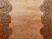 image of celtic  - wood background with celtic pattern  - JPG