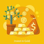 stock photo of pot gold  - Investments in Gold - JPG