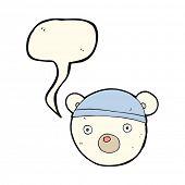 stock photo of bear cub  - cartoon polar bear cub wearing hat with speech bubble - JPG