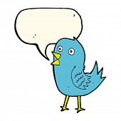 stock photo of bluebird  - cartoon bluebird with speech bubble - JPG