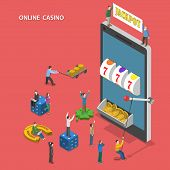 picture of coin slot  - Online casino flat isometric vector concept - JPG
