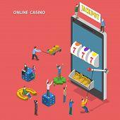 picture of slot-machine  - Online casino flat isometric vector concept - JPG