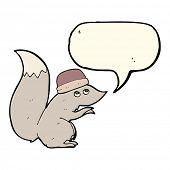 image of crazy hat  - cartoon squirrel wearing hat with speech bubble - JPG