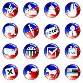 Conjunto de ícones de eleição de azul e branco vermelho