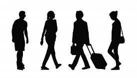 image of ordinary woman  - silhouettes of ordinary young adult men and women walking outdoor summertime - JPG