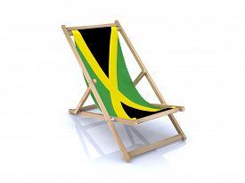 stock photo of jamaican flag  - wood beach chair with jamaican flag 3d illustration - JPG