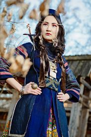 picture of national costume  - Young Girl in National Northen Vietnam Tribal Costume - JPG
