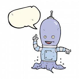 pic of spaceman  - cartoon alien spaceman with speech bubble - JPG
