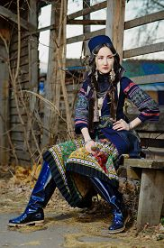 stock photo of national costume  - Young Girl in National Northen Vietnam Tribal Costume - JPG
