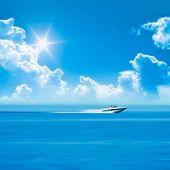 speed boat blue sky
