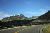 stock photo of colorado high country  - Curving mountain road in Big Horn Park Colorado - JPG