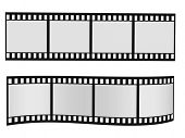 two film strip with blank frames isolated on white