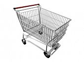 3d chrome shopping cart isolated on white