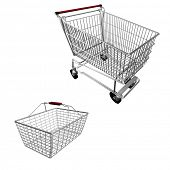 shopping cart and basket on white