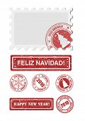 vector stamp with feliz navidad and new year words