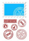 vector christmas and new  year stamps