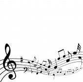 stock photo of musical note  - music notes background - JPG