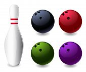 bowling pin and colored balls