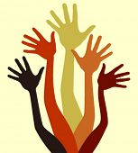 Group of joyful hands vector.