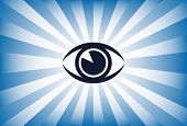 Eye sunburst vector.