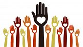picture of hands up  - A large crowd of united people vector - JPG