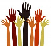 Varied volunteering or charitable hands vector.
