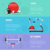Постер, плакат: Fitness Training And Gym Club Banners Set Fitness Center Flyers Fitness Class Equipment Gym And F