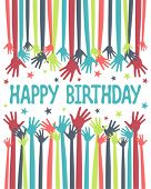 stock photo of happy birthday  - Happy birthday hands vector - JPG