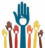 Diseño de manos de apple saludable.