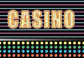 picture of keno  - Entrance to a casino with bright neon light illustration - JPG
