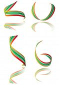 Illustrated collection of bright colored ribbons with shadow
